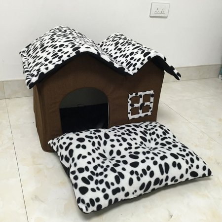 Leopard Dog House Warm Dog Beds for Small Pets Cats Rabbit Removable Cover Mat Home Shaped Pet Kennel Cave