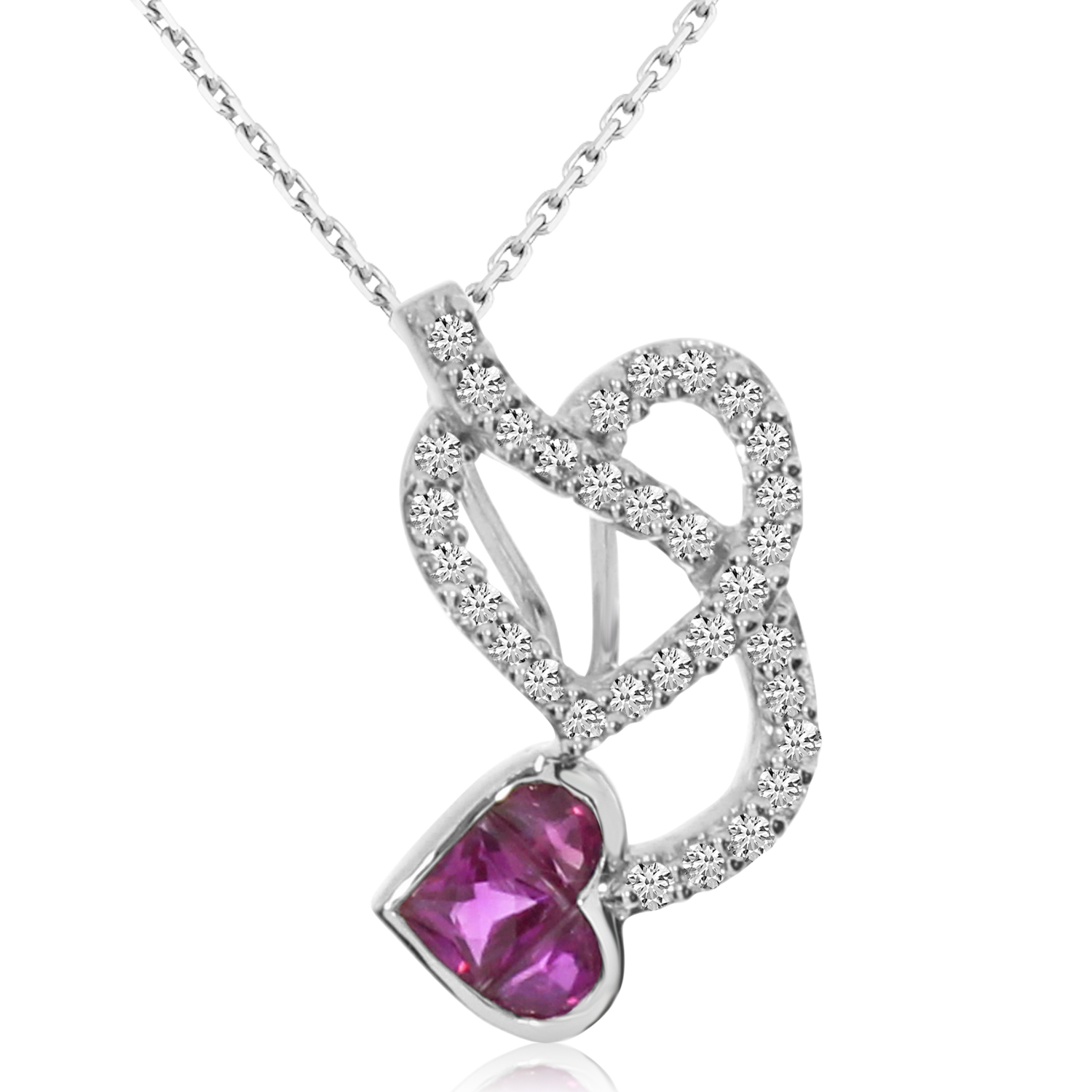 """14k White Gold Ruby Devil's Heart Pendant with 18"""" Chain by"""