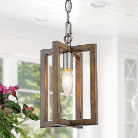 Farmhouse Wood Kitchen Pendant Lights Brown Hanging Ceiling Lighting for Dining Room,