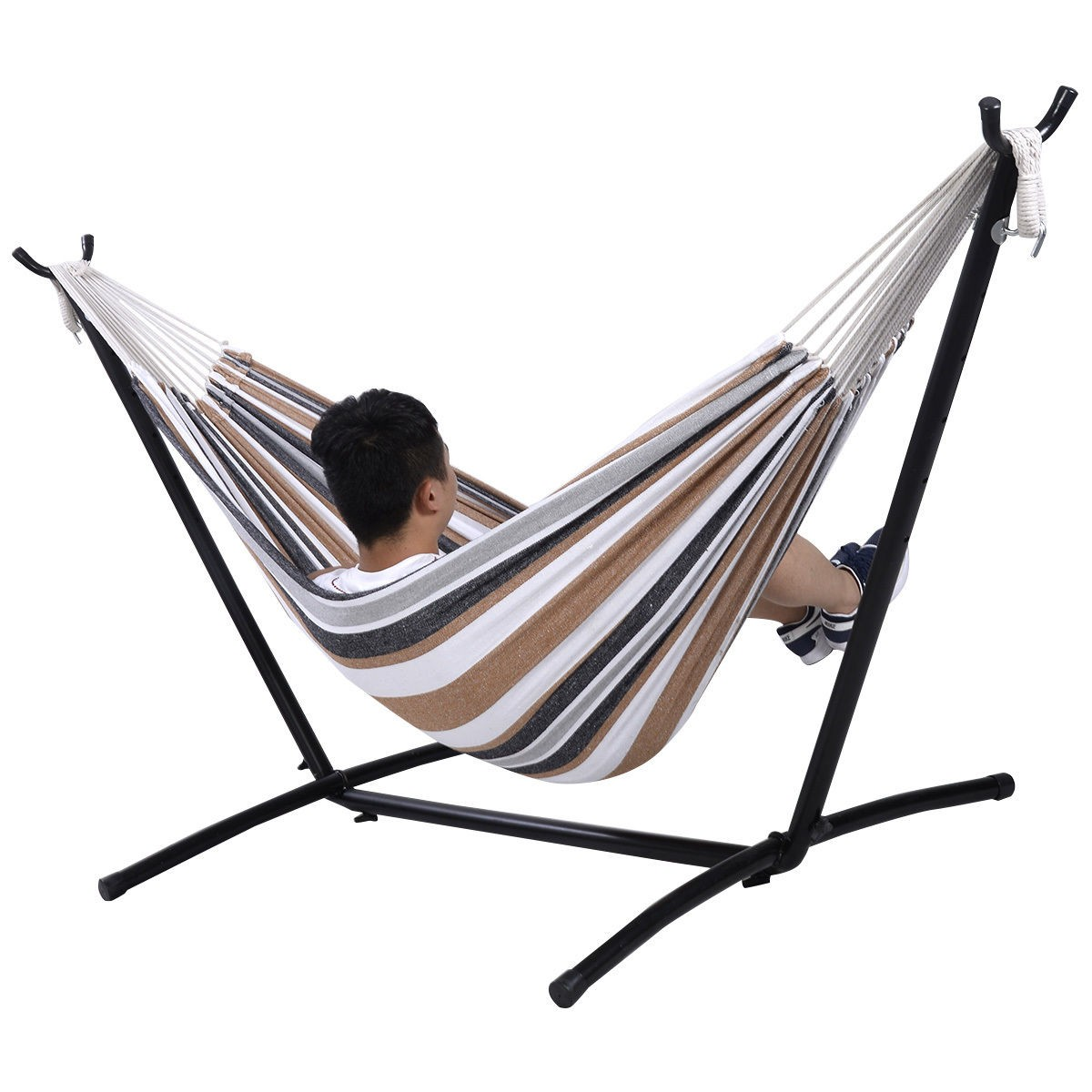 Apontus Double Hammock with Space Saving Steel Stand Includes Portable Carrying Case (Desert Stripe)