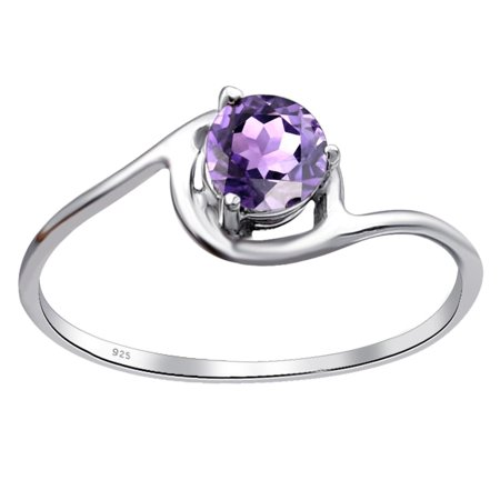 Orchid Jewelry 925 Sterling Silver 0.45 Ctw Purple Amethyst Solitaire Engagement Ring Size -7