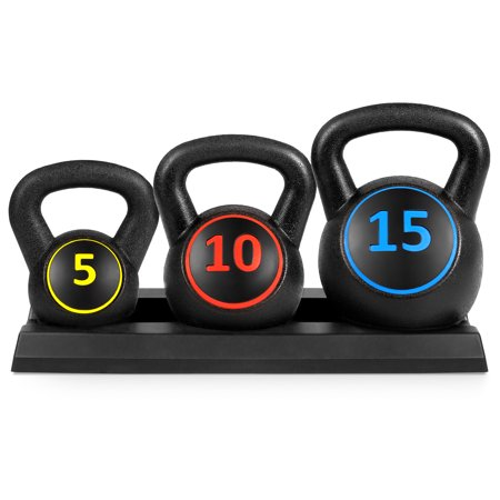 Best Choice Products 3-Piece HDPE Kettlebell Exercise Fitness Weight Set for Full Body Workout w/ 5lb, 10lb, 15lb Weights, Wide Grips, Base Rack - (Wide Body Chrome Grip)
