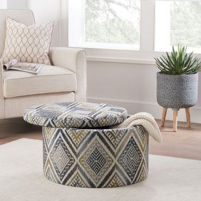 Excellent Better Homes And Gardens Round Tufted Storage Ottoman With Nailheads Multiple Finishes Theyellowbook Wood Chair Design Ideas Theyellowbookinfo