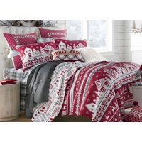 Red & White Christmas Village, Reindeer, Holidays 100% Cotton King Quilt & Shams (3 PC Bedding)
