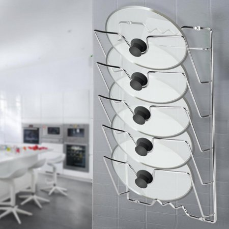 Dilwe Wall/Door Mounted Kitchen Cabinet Storage Rack Holder for Pot & Pan Lids  ,Pan Lid Rack, Pan Lid Storage