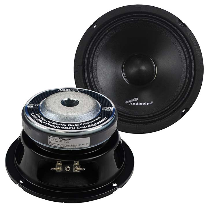 Car Stereo Speakers 6-inch Low Mid Frequency Audio Car Speakers 200w Max Black