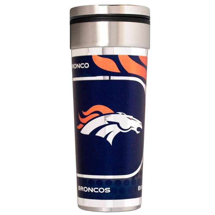 Denver Broncos 22 oz Stainless Steel Travel Tumbler Metallic Graphics NFL Mug Cup
