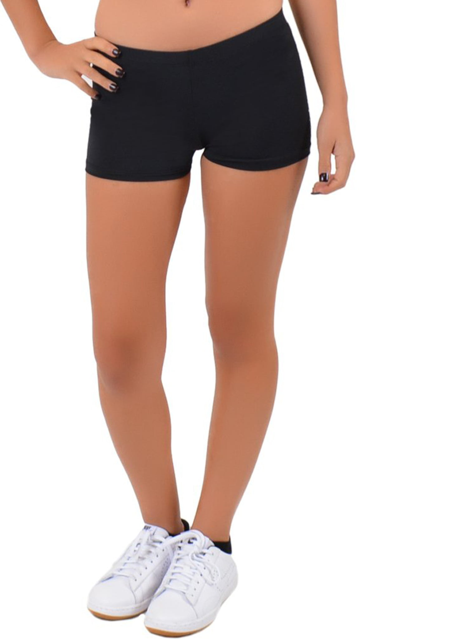Womens Nylon Stretch Booty Shorts - Small 0-2  Black -2450