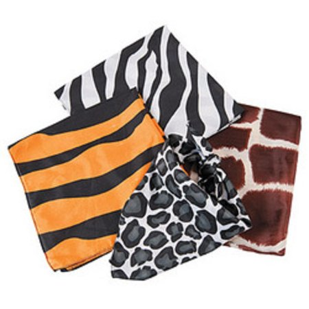 Lot of 12 Animal Print Bandannas Safari Jungle Theme Party Favors