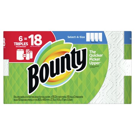 Bounty Select-A-Size Paper Towels, White, 6 Triple Rolls = 18 Regular Rolls - Kraft Paper Towels