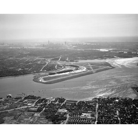 1950s Aerial Across Flushing Bay La Guardia Airport College Point Queens Manhattan Skyline In Distance Looking West Rolled Canvas Art - Vintage Images