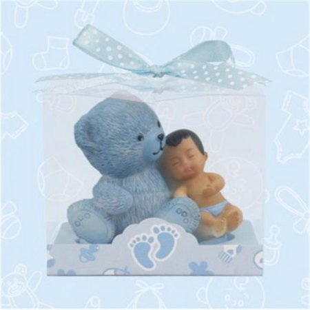 12 Baby Shower Ethnic Baby and Teddy Bear Favors in Blue