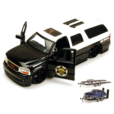 Diecast Car & Trailer Package - GMC Yukon Denali State Trooper SUV, Black & White - Jada Toys Heat 96368 - 1/24 scale Diecast Model Toy Car w/Trailer (Diecast Gmc Yukon)