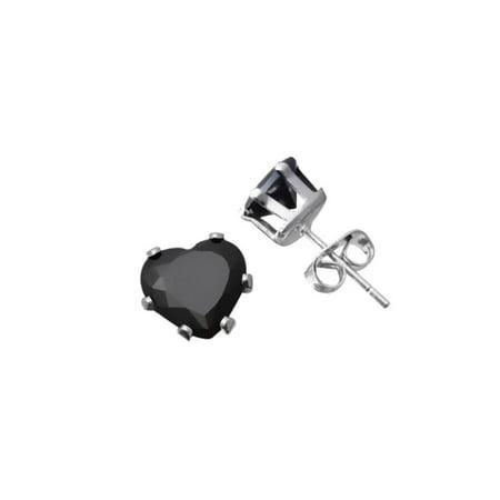 iParis Platinum Over Sterling Silver 3 Ct Heart Shape Black Topaz Stud - Black Toga