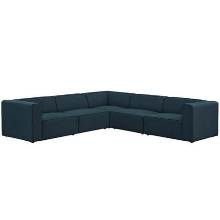 Mingle 5 Piece Upholstered Fabric Sectional Sofa Set ()