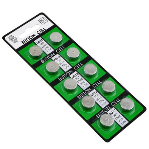 Insten 10pcs AG13 LR44 303 357 357A A76 LR1154 1.5V Watch Cell Coin Button Alkaline Battery