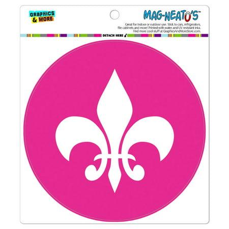 Fleur de Lis Pink - Circle MAG-NEATO'S(TM) Car/Refrigerator (Fleur De Lis Save The Date Magnets)