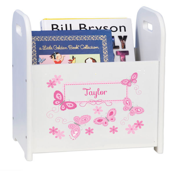 Personalized Butterflies pink Caddy and Book Rack