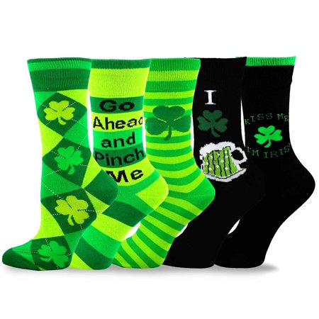 TeeHee St. Patricks Day Cotton Crew Socks Assorted 5-Pair - St Pattys Day Socks