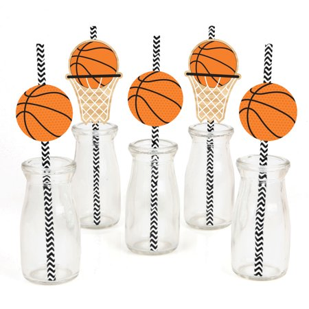 Nothin' But Net - Basketball Paper Straw Decor - Baby Shower or Birthday Party Striped Decorative Straws - Set of 24 for $<!---->