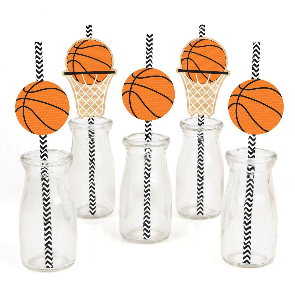 Nothin' But Net - Basketball Paper Straw Decor - Baby Shower or Birthday Party Striped Decorative Straws - Set of 24