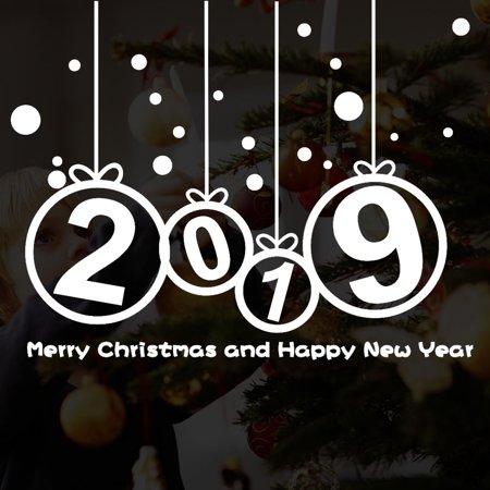 〖Follure〗New Year 2019 Merry Christmas Wall Sticker Home Shop Windows Decals Decor ()