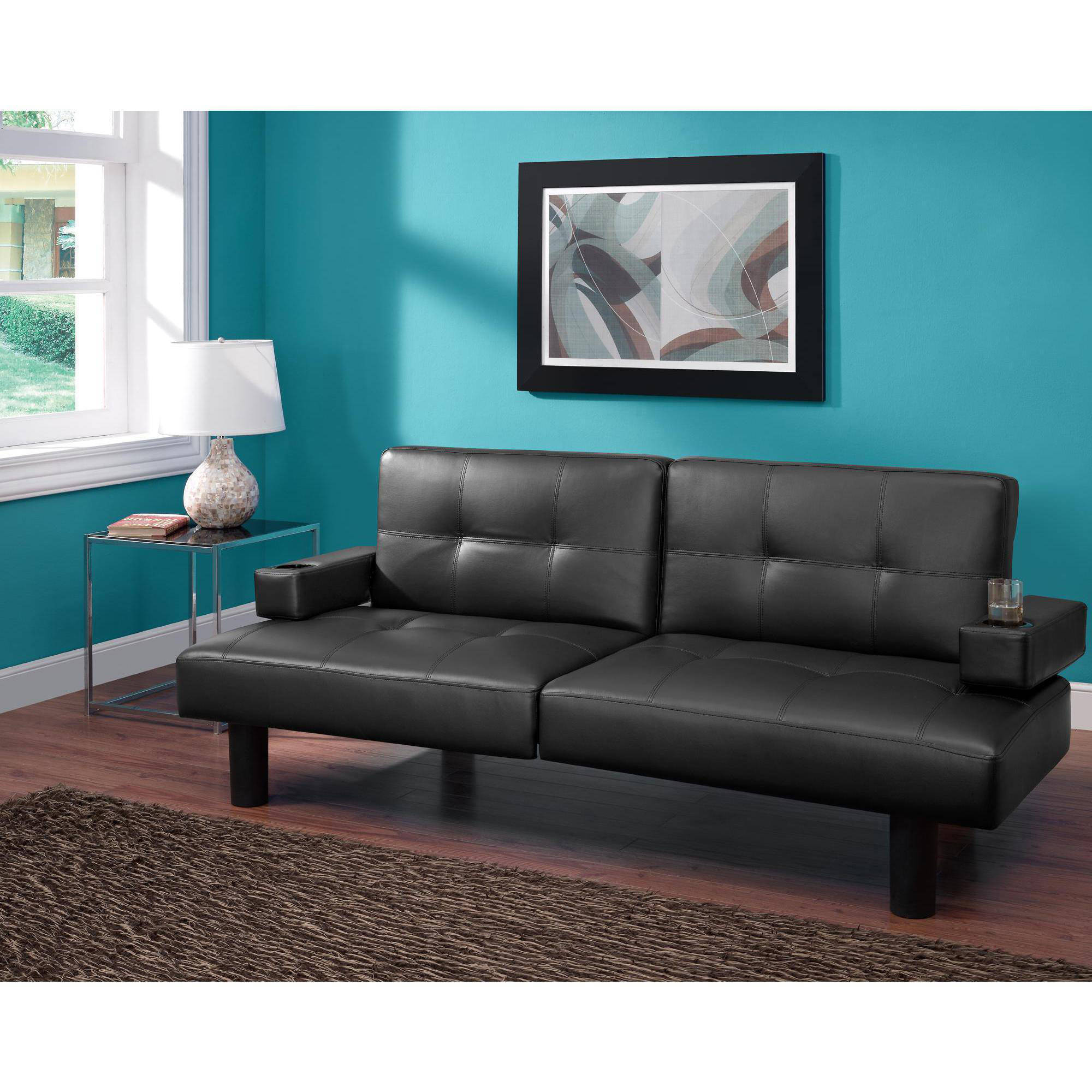 mainstays connectrix faux leather futon multiple colors   walmart    rh   walmart