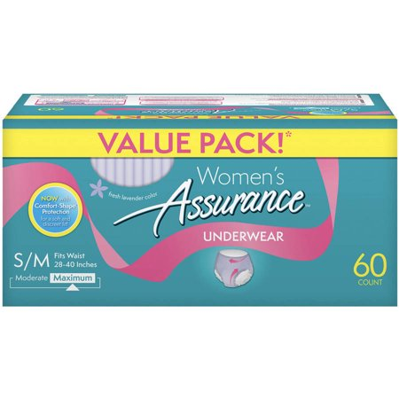 Assurance Incontinence Underwear for Women, Maximum, S/M, 60 Ct for $<!---->