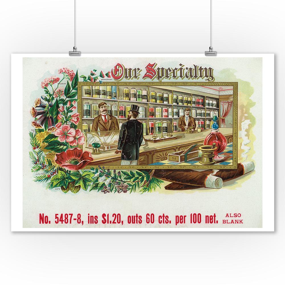 Cigar Box Wall Art: Our Specialty Brand Cigar Box Label (9x12 Art Print, Wall
