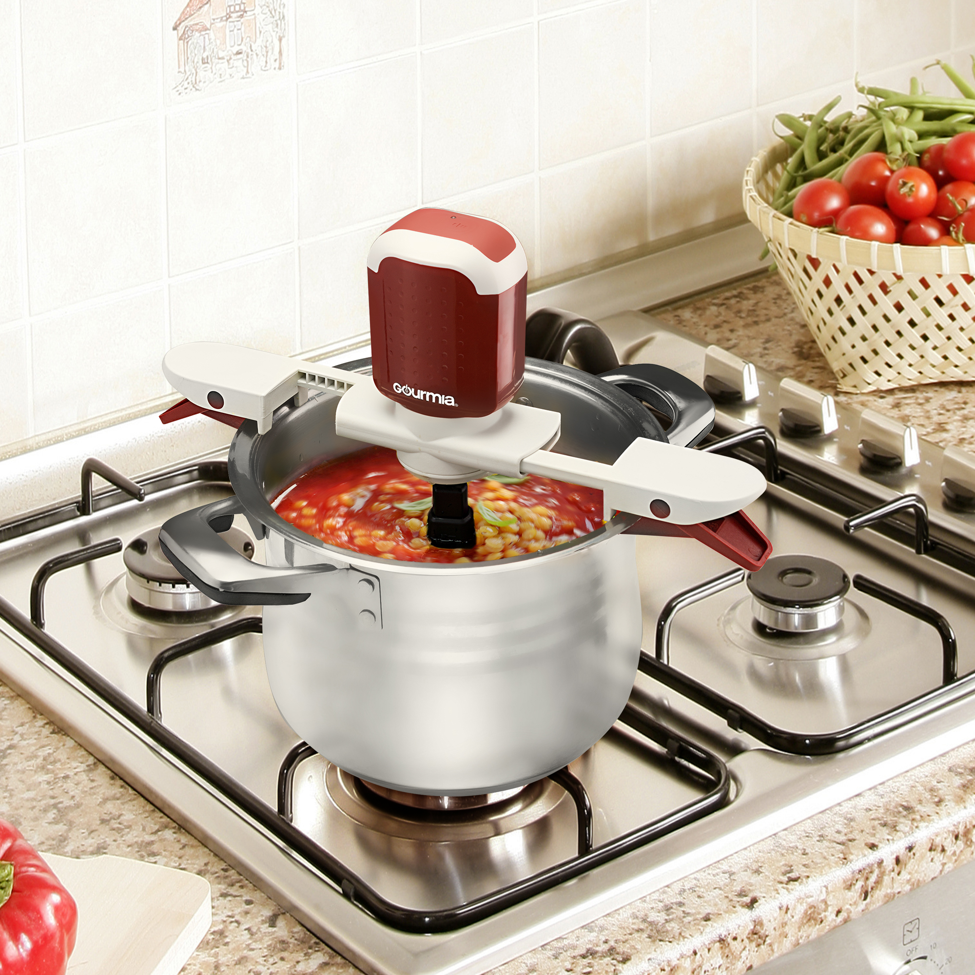 Gourmia GST210 Stiriffic Adjustable Pot U0026 Pan Hands Free Automatic Stirrer    Red   Walmart.com