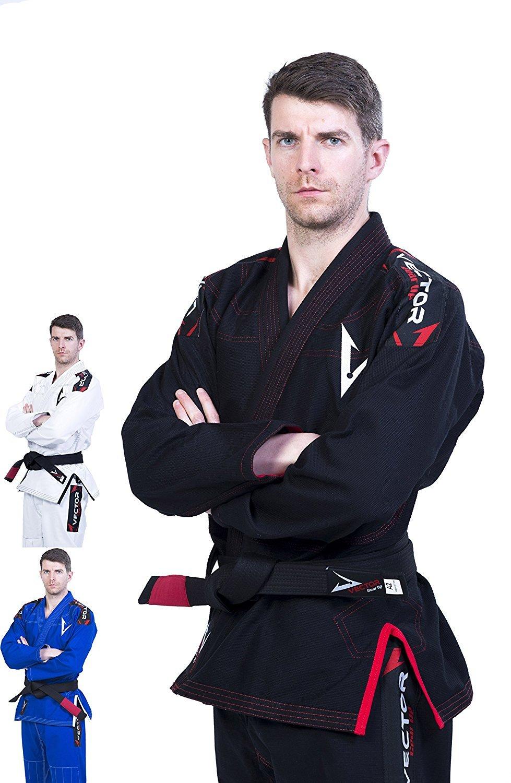Brazilian Jiu Jitsu Gi for Mens WHITE//BLACK Pearl Weave 100/% Cotton Washed