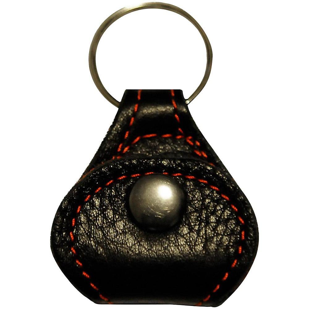 Perri's Garment Leather Keychain Guitar Pick Holder Italian Black On Cherry Red