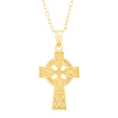 Eternity Gold Celtic Cross Pendant Necklace in 10kt (Cross Celtic Inspired Necklace)