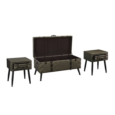 3 piece faux leather upholstered coffee and side tables - Three piece living room table set ...