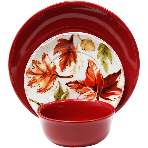 Better Homes and Gardens 12-Piece Harvest Dinnerware Set, Red