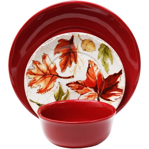 Better Homes and Gardens 12-Piece Harvest Dinnerware Set, Red ...