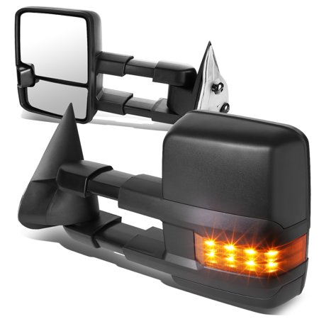 For 2003 to 2006 Avalanche / Tahoe Pair of Black Textured Telescoping Manual Extendable + Amber Signal Side Towing Mirrors 05