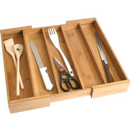 Lipper Bamboo Expandable Utensil Drawer - Expandable Utensil Organizer