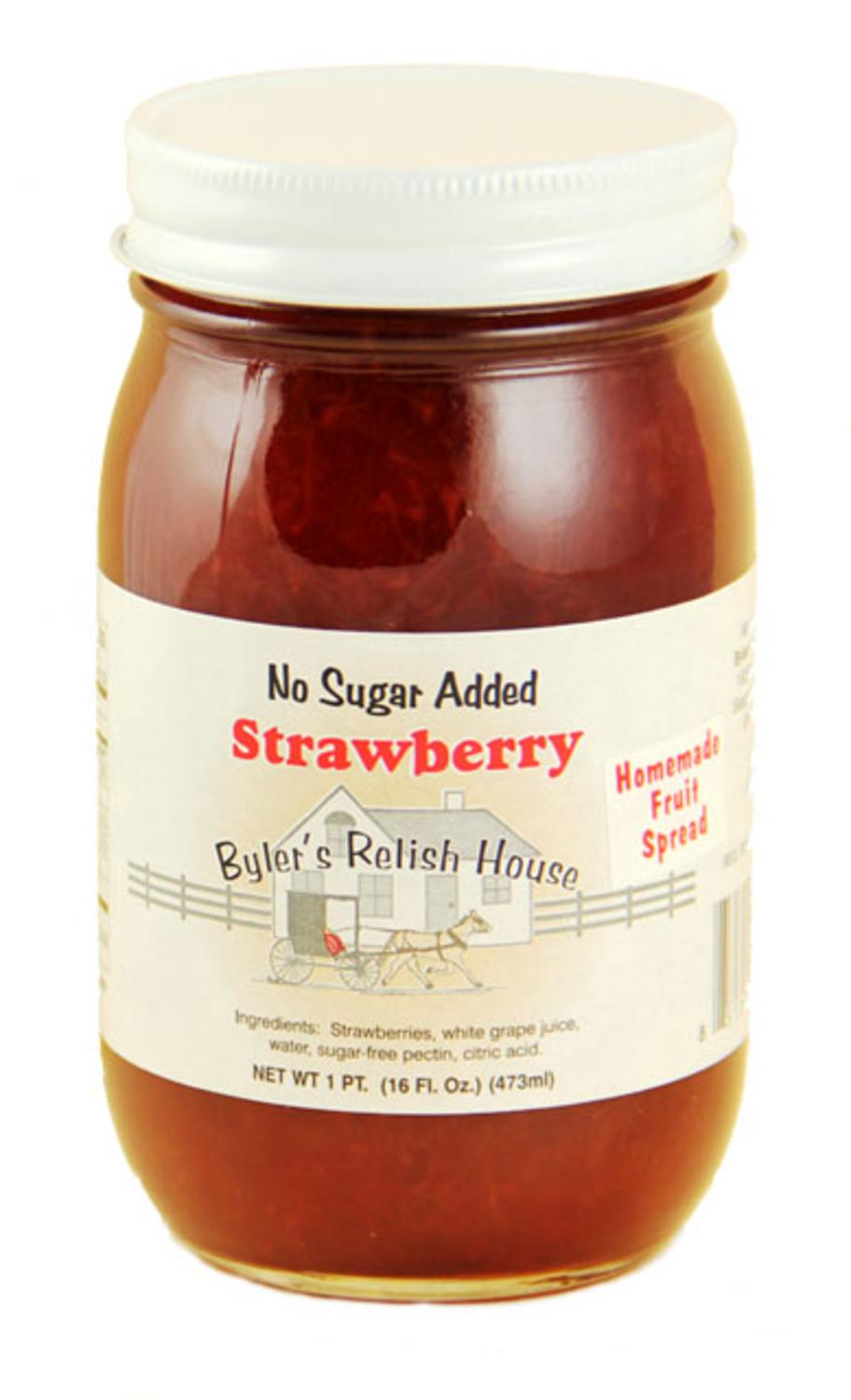 Byler's Relish House Homemade No Sugar Added Strawberry Jam Fruit Spread 16 oz. by Byler's Relish House