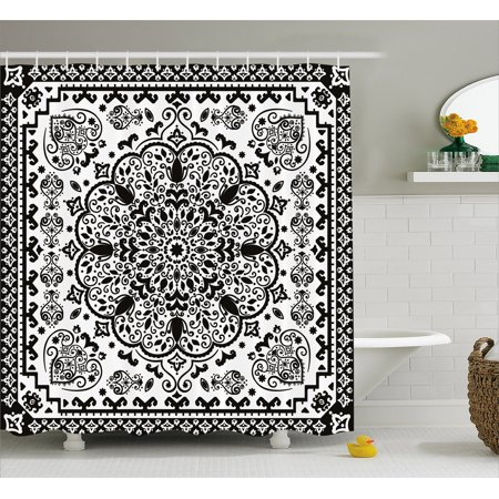 Ethnic Shower Curtain, Ethnic Mandala Floral Lace Paisley Mehndi Design Tribal Lace Image Art Print, Fabric Bathroom Set with Hooks, 69W X 75L Inches Long, Black and White, by (New Best Mehndi Design)