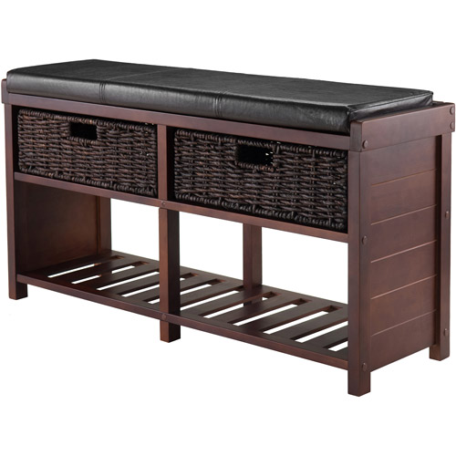 Winsome Wood Colin Cushion Bench w/ 2 Baskets, Cappuccino