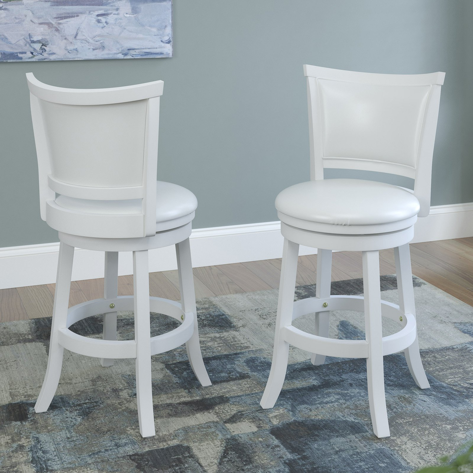 CorLiving Woodgrove White Wash Counter Height Barstool with Leatherette Seat, Set of 2