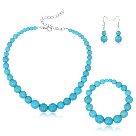 Turquoise Nugget Set - Silver Turquoise Ball Earrings, Bracelet, and Necklace Set