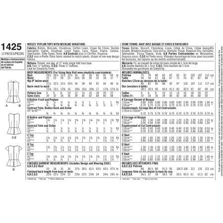Simplicity Misses' Size 14-22 Tops & Vests Pattern, 1 Each