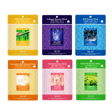 Skin Care Treatment Mask Pack Collagen, Snail, EGF, Placenta, Coenzyme Q10, Green Tea Essence Face Facial Mask Package 30 Pcs (5 Pack of Each) - Korean Cosmetic Facial Beauty (Green Facial Mask)