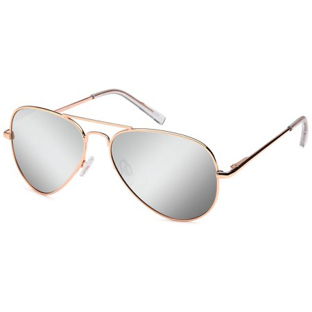 JETPAL Premium Classic Aviator UV400 Sunglasses w Flash Mirror Lenses - Polarized Mirror Silver Lens on Gold Flex Arm Frame Brown Silver Flash Lens