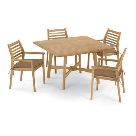 Wexford 5 Piece Natural Shorea Patio Dining Set W/ 48 Inch Square Table & Sunbrella Dupione Walnut Cushions By Oxford Garden