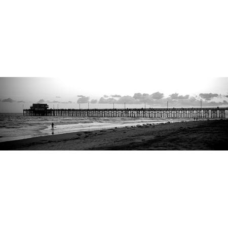Orange County Pier (Pier in an ocean Newport Pier Newport Beach Orange County California USA Canvas Art - Panoramic Images (6 x 18) )