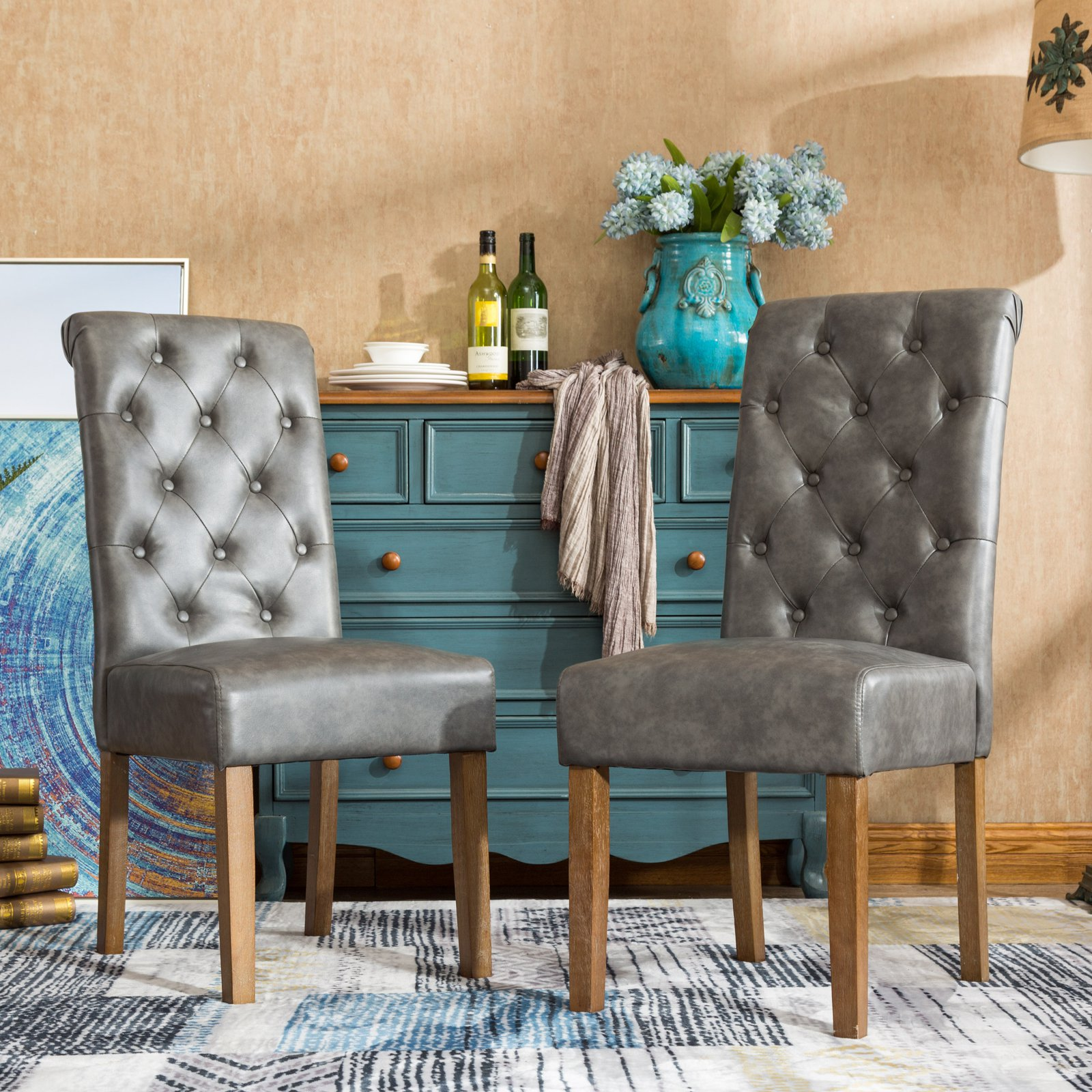 Roundhill Furniture Habit Faux Leather Tufted Parsons Dining Chair - Set of 2