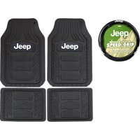 Officially Licensed All Weather Pro Heavy Duty Rubber Front Rear Floor Mats & Steering Set for Jeep